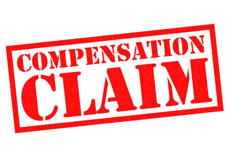 compensate: COMPENSATION CLAIM red Rubber Stamp over a white background.