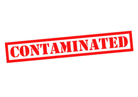 contaminated: CONTAMINATED red Rubber Stamp over a white background.