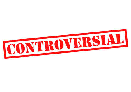 contended: CONTROVERSIAL red Rubber Stamp over a white background. Stock Photo
