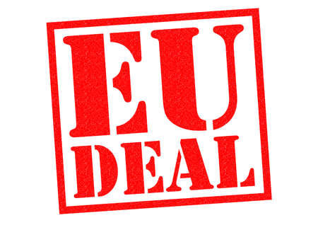 contractual: EU DEAL red Rubber Stamp over a white background.