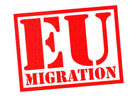 common market: EU MIGRATION red Rubber Stamp over a white background.