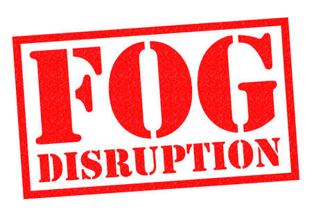 stopped: FOG DISRUPTION red Rubber Stamp over a white background.