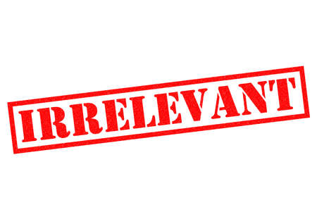 irrelevant: IRRELEVANT red Rubber Stamp over a hite background.