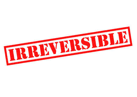 incurable: IRREVERSIBLE red Rubber Stamp over a white background.