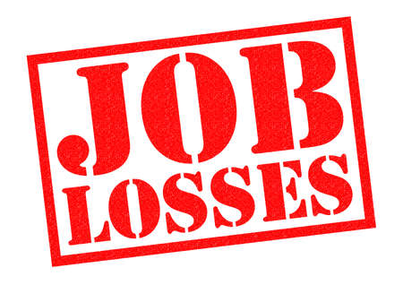 sacked: JOB LOSSES red Rubber Stamp over a white background. Stock Photo