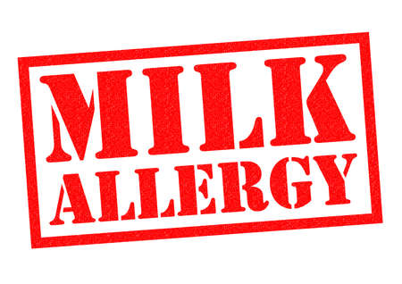 be careful: MILK ALLERGY red Rubber Stamp over a white background. Stock Photo