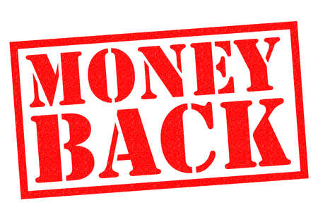 moneyback: MONEY BACK red Rubber Stamp over a white background.
