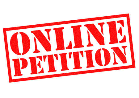 plead: ONLINE PETITION red Rubber Stamp over a white background.