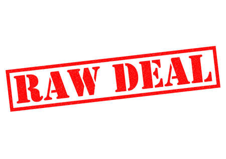 contractual: RAW DEAL red Rubber Stamp over a white background.