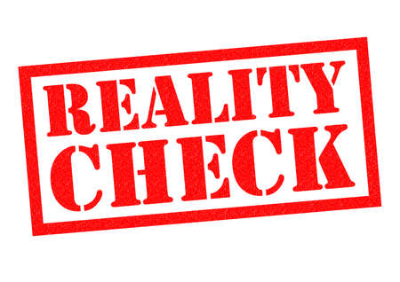 wake up call: REALITY CHECK red Rubber Stamp over a white background. Stock Photo