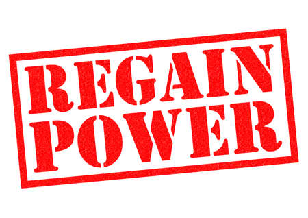 regain: REGAIN POWER red Rubber Stamp over a white background.