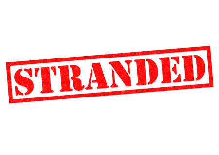 stranded: STRANDED red Rubber Stamp over a white background.