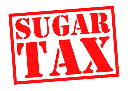 tariff: SUGAR TAX red Rubber Stamp over a white background. Stock Photo