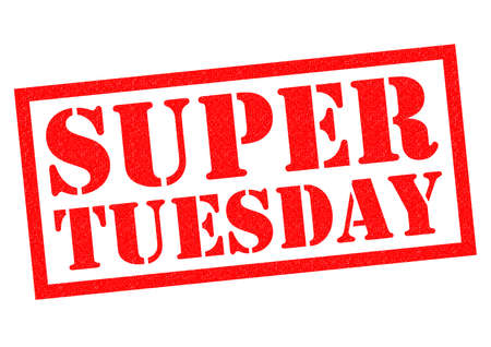 tuesday: SUPER TUESDAY red Rubber Stamp over a white background.