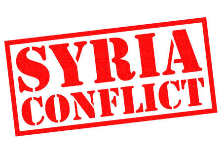 assad: SYRIA CONFLICT red Rubber Stamp over a white background.