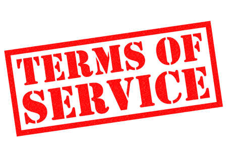 stamping: TERMS OF SERVICE red Rubber Stamp over a white background. Stock Photo