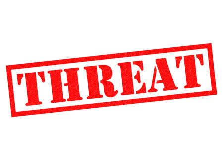 risky behavior: THREAT red Rubber Stamp over a white background.