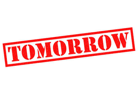 organised: TOMORROW red Rubber Stamp over a white background. Stock Photo