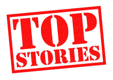 newsflash: TOP STORIES red Rubber Stamp over a white background.