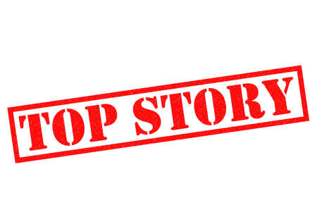 reportage: TOP STORY red Rubber Stamp over a white background. Stock Photo