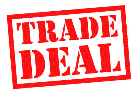 contractual: TRADE DEAL red Rubber Stamp over a white background. Stock Photo