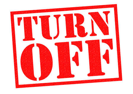 marked down: TURN OFF red Rubber Stamp over a white background. Stock Photo