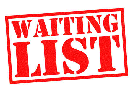 times up: WAITING LIST red Rubber Stamp over a white background. Stock Photo