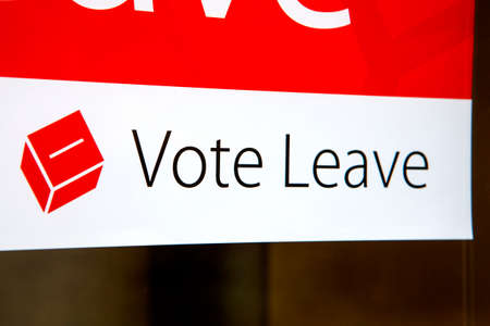 common market: LONDON, UK - MARCH 3RD 2016: A Vote Leave campaign poster displayed in a residential house in London, on 3rd March 2016.  A referendum on Britains membership of the European Union will be held on Thursday 23 June 2016. Editorial