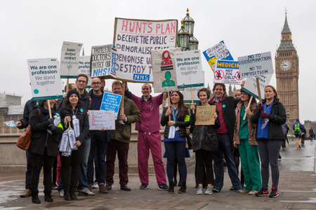 LONDON, UK - APRIL 6TH 2016: Junior Doctors from St. Thomas' Hospital in London taking part in a fourth walkout in their contract dispute with the government, on 6th April 2016.