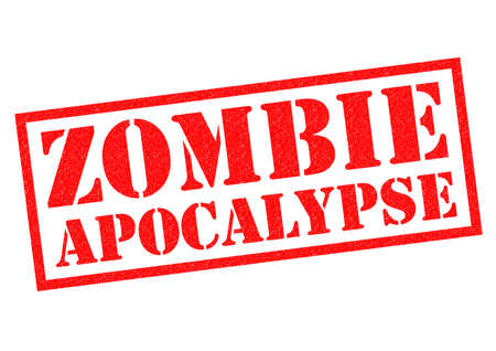 nuclear fear: ZOMBIE APOCALYPSE red Rubber Stamp over a white background.