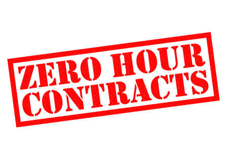 unjust: ZERO HOUR CONTRACTS red Rubber Stamp over a white background. Stock Photo
