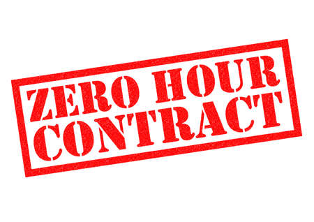unjust: ZERO HOUR CONTRACT red Rubber Stamp over a white background. Stock Photo