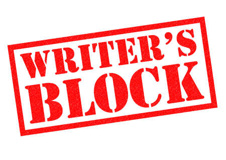 writers: WRITER�S BLOCK red Rubber Stamp over a white background.