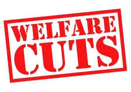 budgetary: WELFARE CUTS red Rubber Stamp over a white background. Stock Photo