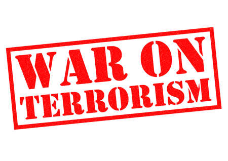 current affairs: WAR ON TERRORISM red Rubber Stamp over a white background.