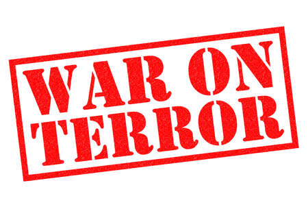 war on terror: WAR ON TERROR red Rubber Stamp over a white background.