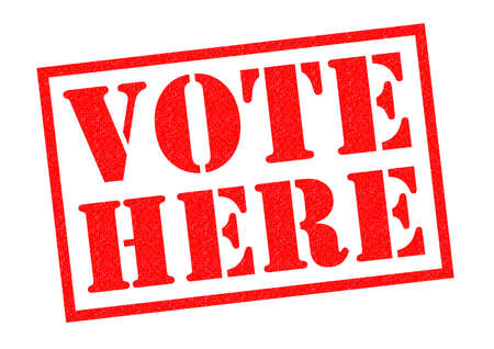vote here: VOTE HERE red Rubber Stamp over a white background.