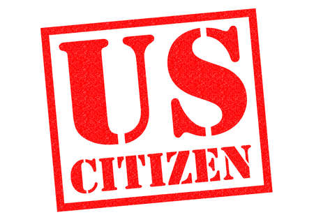citizen: US CITIZEN red Rubber Stamp over a white background. Stock Photo