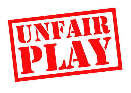 unlawful act: UNFAIR PLAY red Rubber Stamp over a white background.