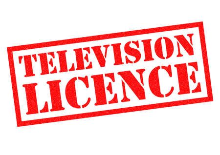 dues: TELEVISION LICENCE red Rubber Stamp over a white background.