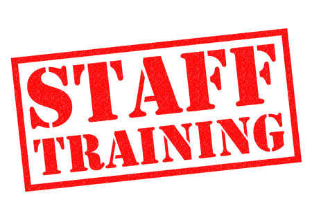 staff training: STAFF TRAINING red Rubber Stamp over a white background.