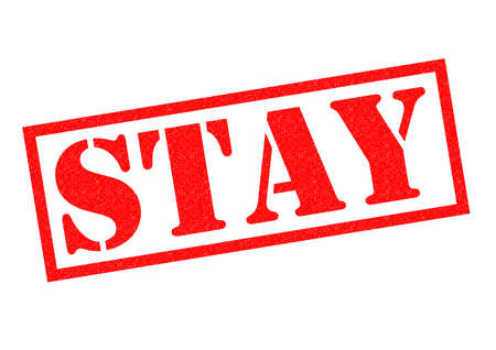 remain: STAY red Rubber Stamp over a white background.