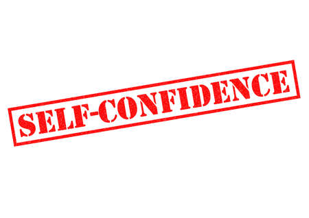 self assurance: SELF CONFIDENCE red Rubber Stamp over a white background. Stock Photo