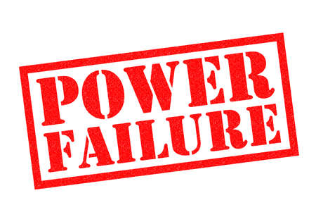 outage: POWER FAILURE red Rubber Stamp over a white background.