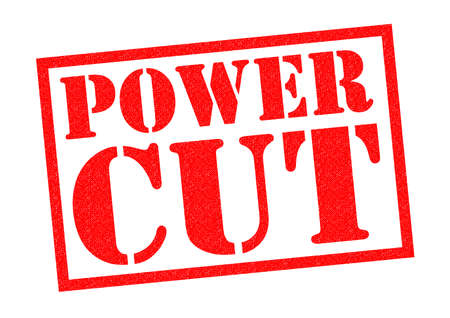 outage: POWER CUT red Rubber Stamp over a white background.