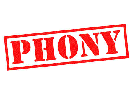 counterfeit: PHONY red Rubber Stamp over a white background.