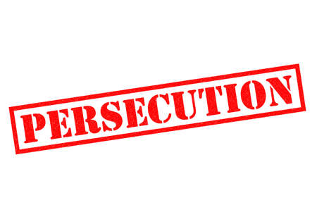 afflicted: PERSECUTION red Rubber Stamp over a white background. Stock Photo