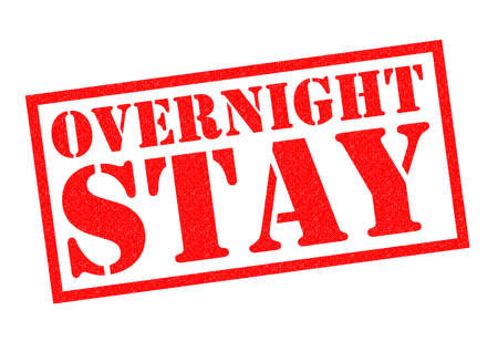 overnight: OVERNIGHT STAY red Rubber Stamp over a white background.