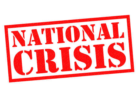 widespread: NATIONAL CRISIS red Rubber Stamp over a white background.