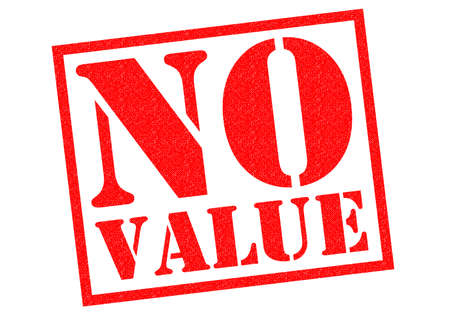 worthless: NO VALUE red Rubber Stamp over a white background. Stock Photo